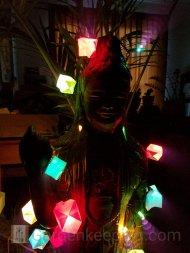 Kuan Yin with her rainbow lights turned on.