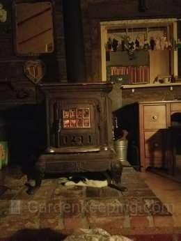 Inside the cabin. I slept next to the wood stove. The cat has the coziest spot in the house!